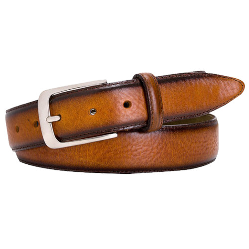 Cognac Profuomo Leather Belt - Hand Polished (1)
