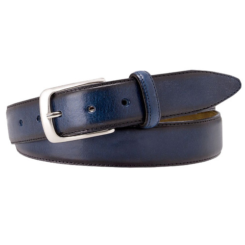 Blue Profuomo Leather Belt - Hand Polished (1)
