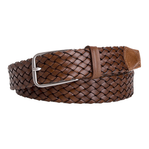 Brown Braided Leather Belt - Profuomo (1)