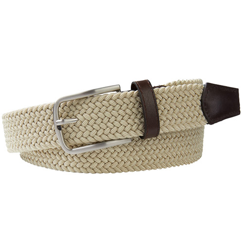 Beige Braided Profuomo Belt - Elastic (1)
